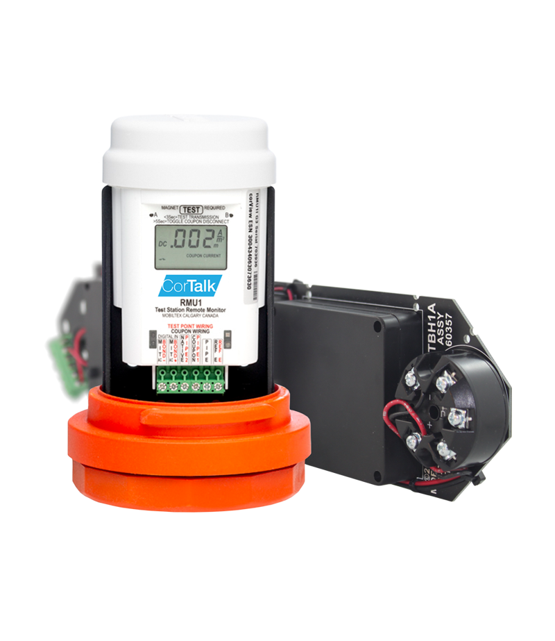 Photo of RMU1 and TS1 device for Pipeline Integrity Monitoring
