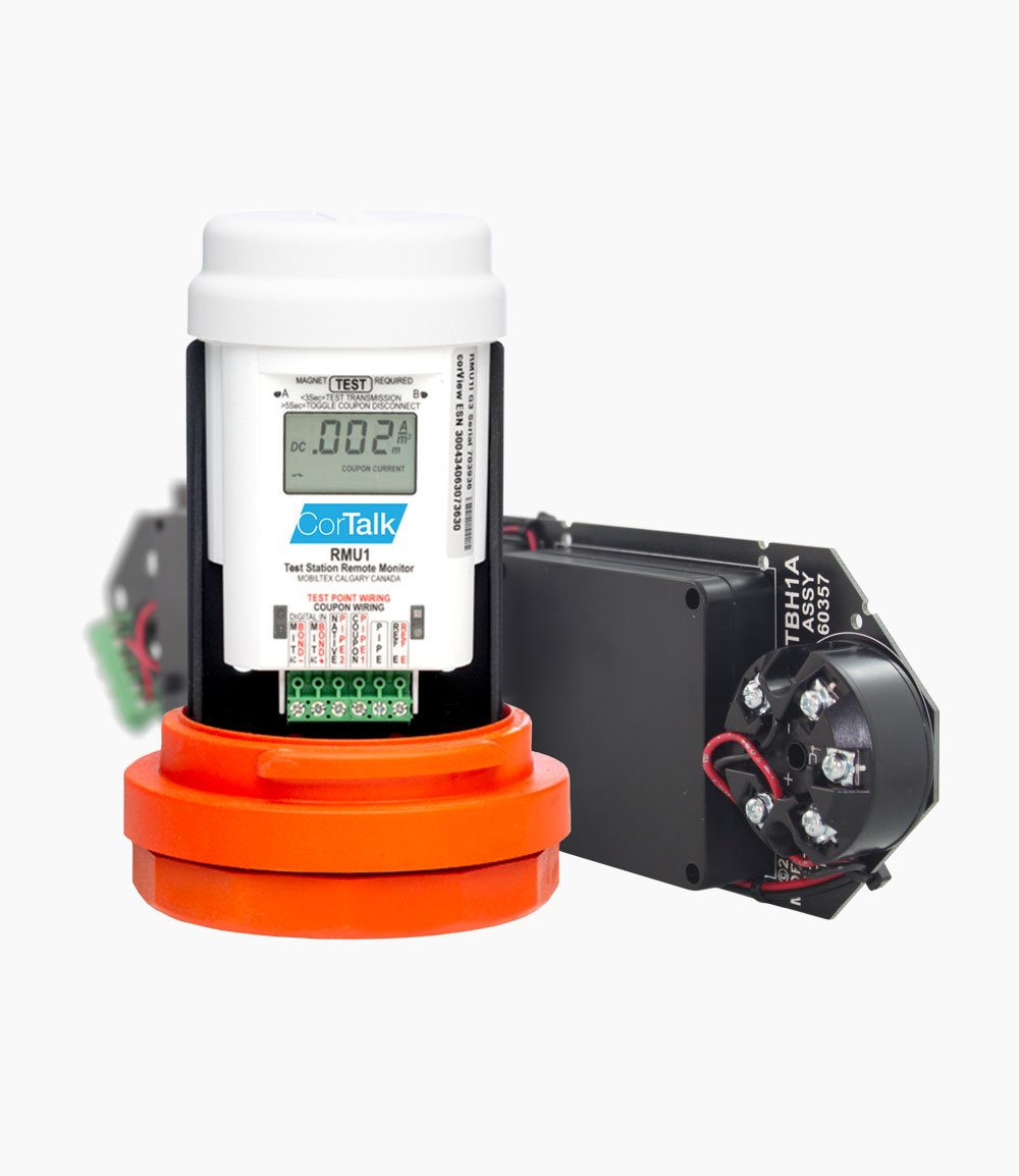 Photo of RMU1 and TS1 device for Pipeline Integrity Monitoring - White Background