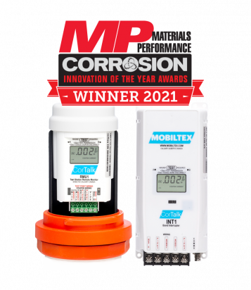 Photo of RMU1+INT1 Remote Monitoring Units with the MP Corrosion Winner 2021 Graphic